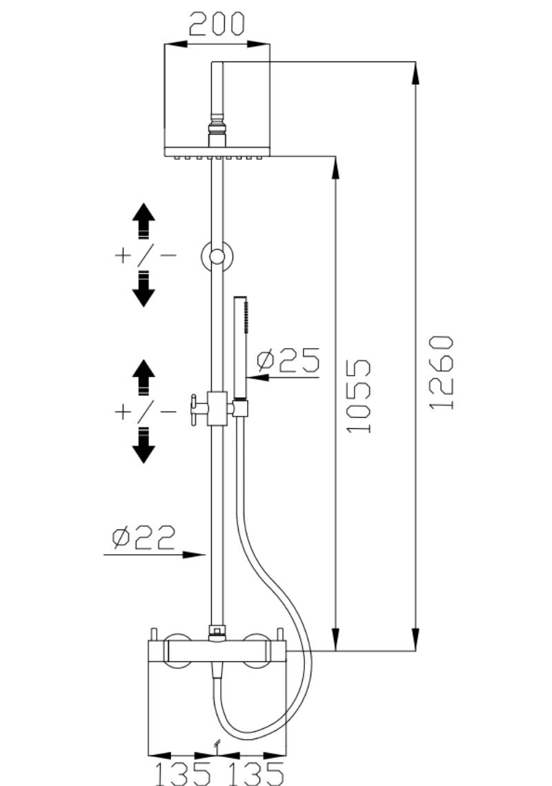 effepi-Tondì--Miscelatore-termostatico-doccia-esterno-con-deviatore,-colonna-fissa,-flessibile-Silitech,-soffione-e-doccia-in-ABS-Art.-15148