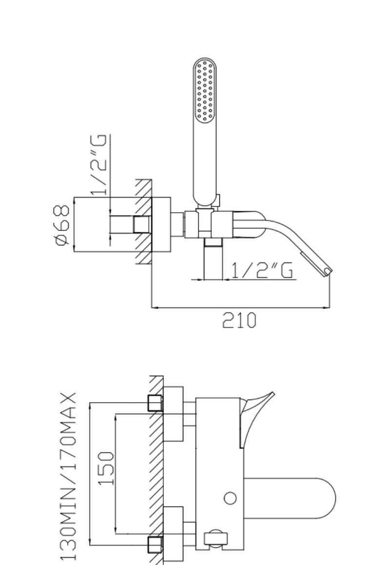 effepi-Bèk-Monocomando-vasca-con-doccia-e-flessibile-doppia-aggraffatura-Art.-13008